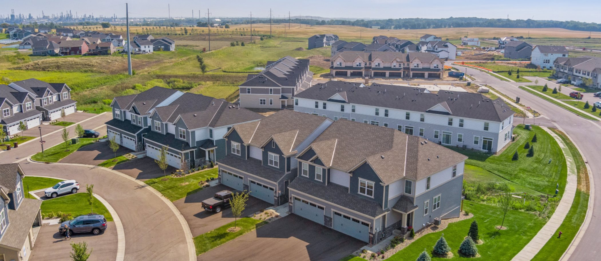 Aerial view of Liberty Collection at Highlands of Falmoor Glen