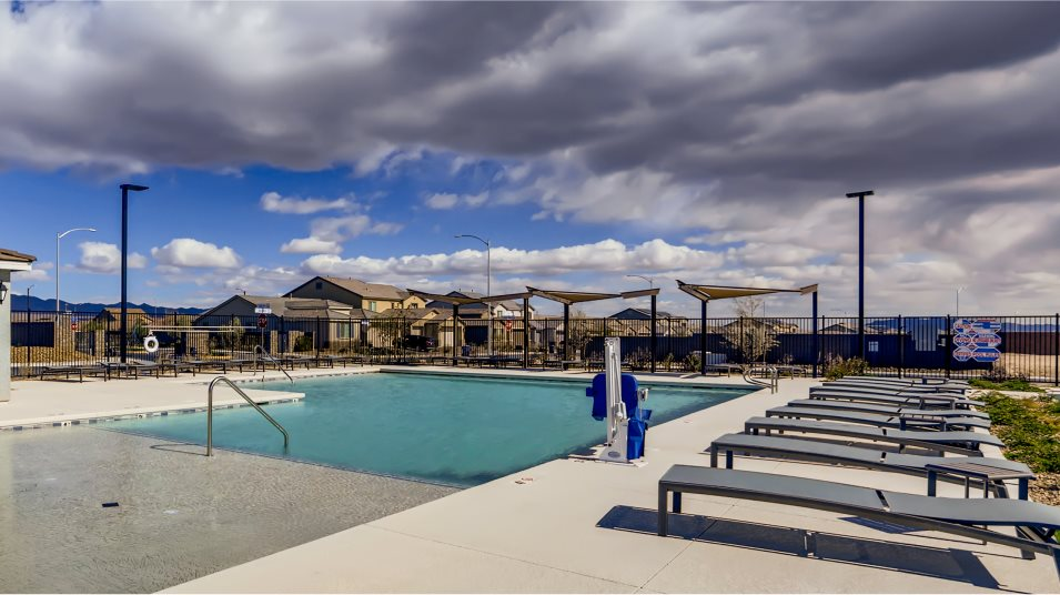 Stone Creek swimming pool features lounge chairs