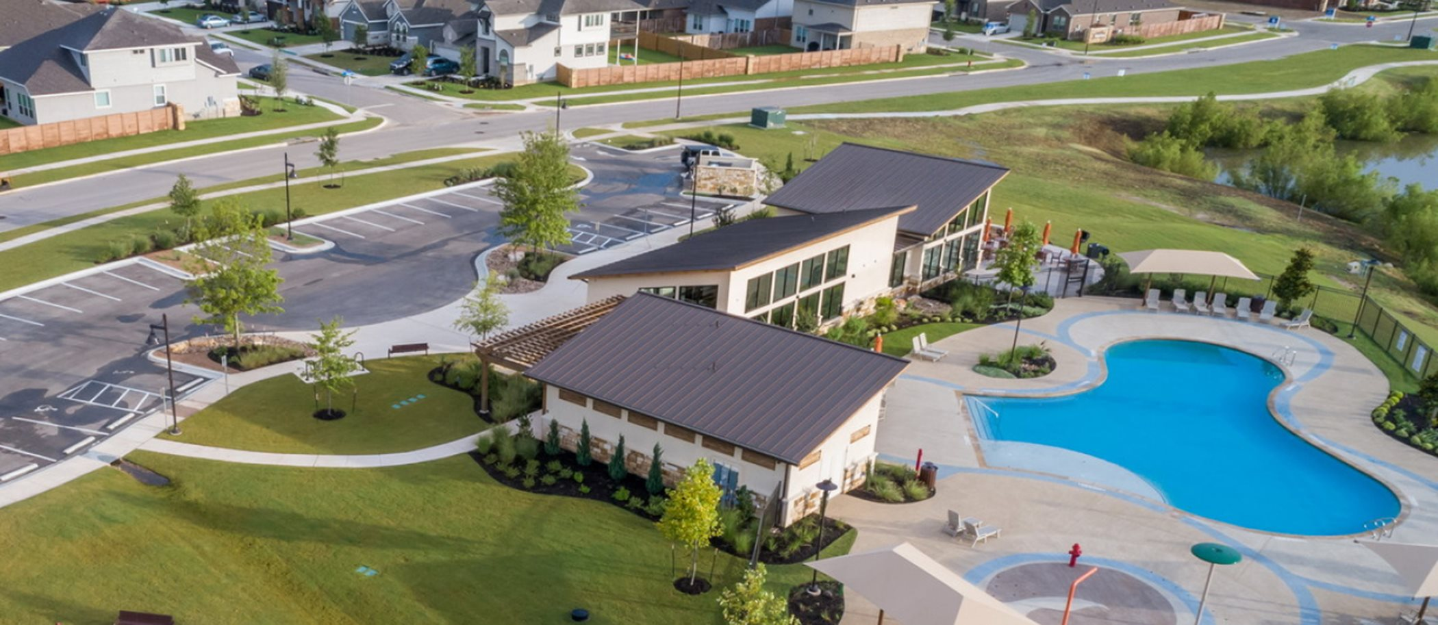 Aerial view of Saddlecreek Swimming Pool and Clubhouse
