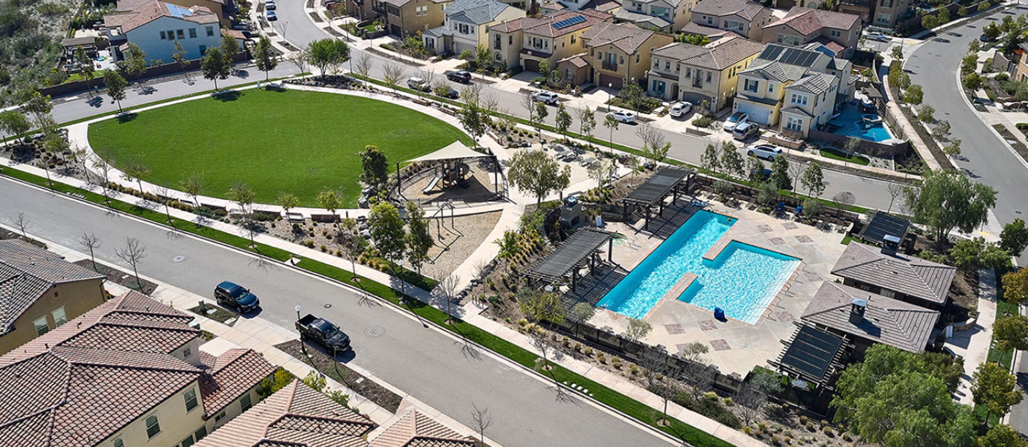 Aerial view of Del Sur Green Space and Swimming Pool