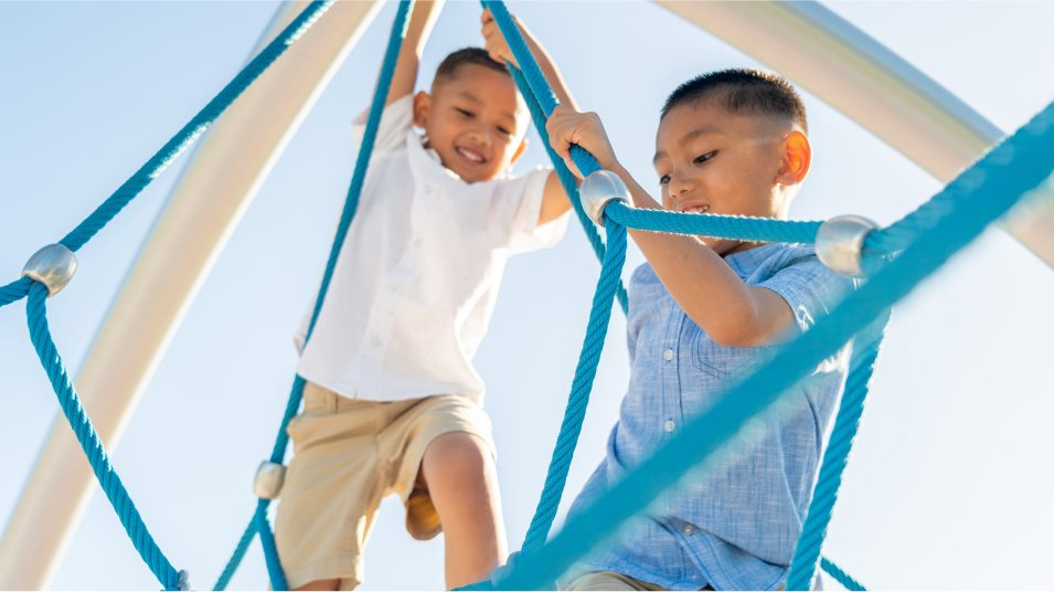 Kids playing on a playground
