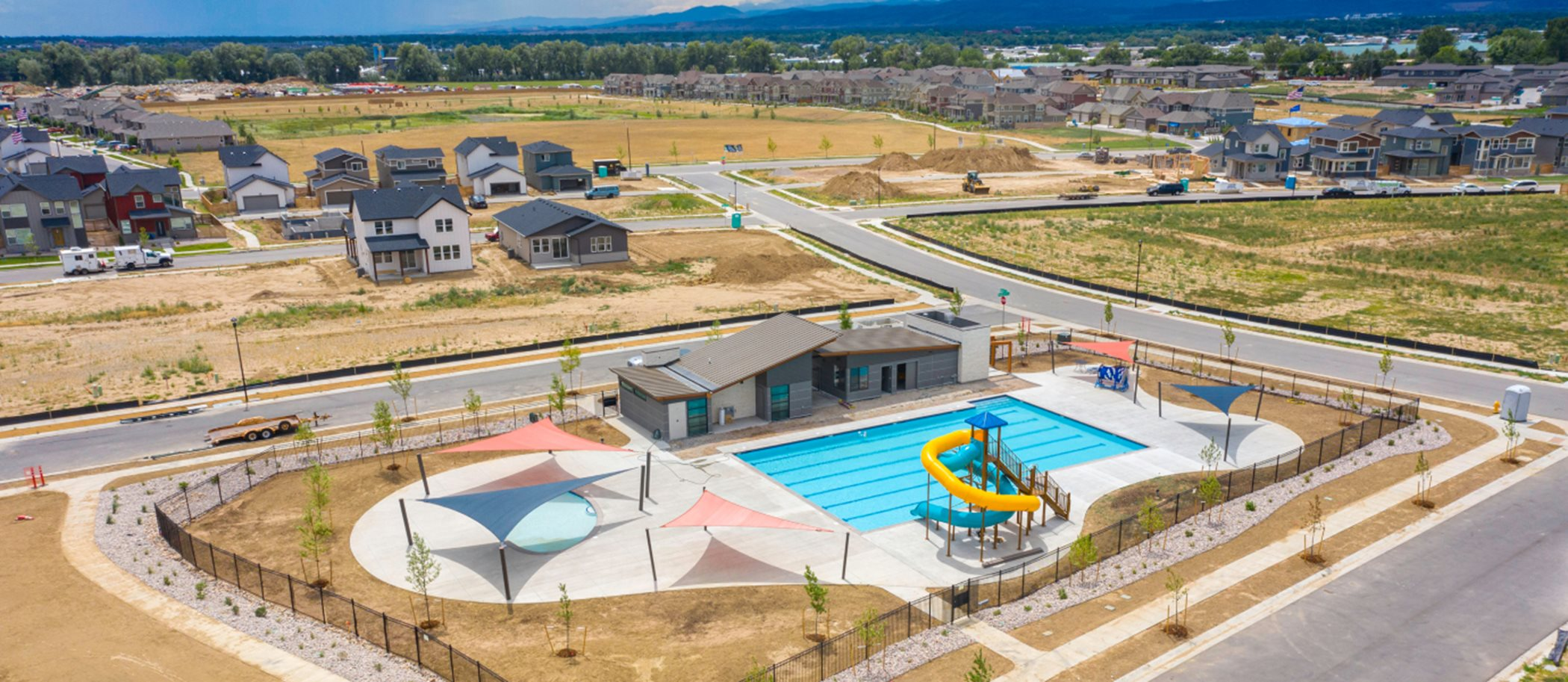 Aerial view of Mosaic Clubhouse and Swimming Pool