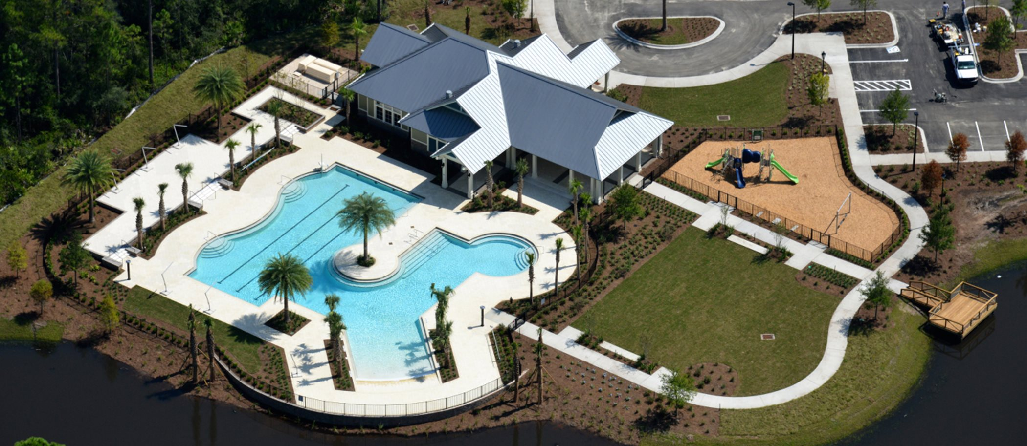 Aerial of Longleaf Clubhouse and Swimming Pool