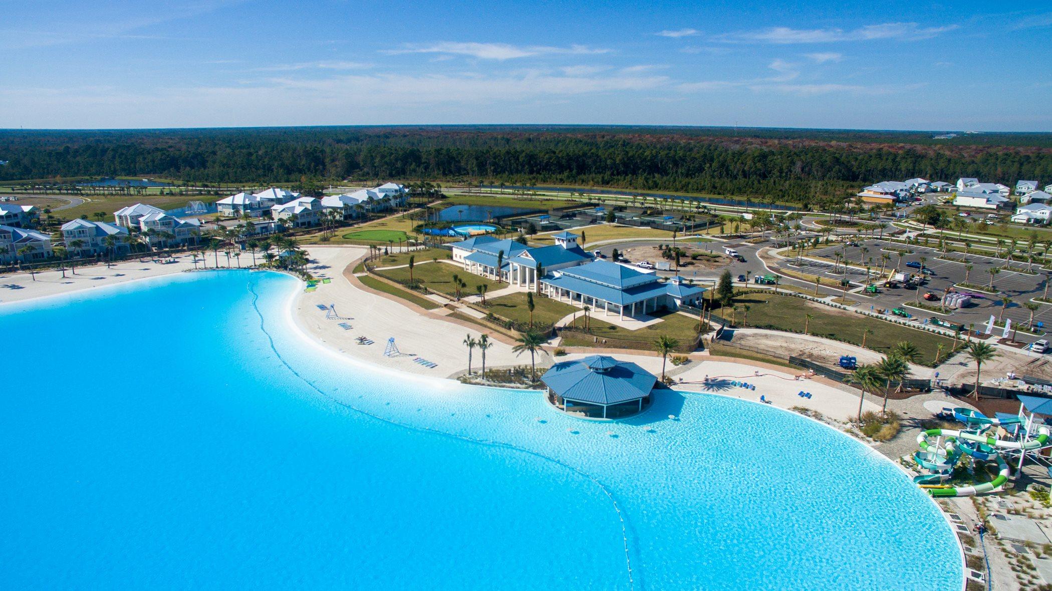 Aerial image of Beachwalk near blue lagoon