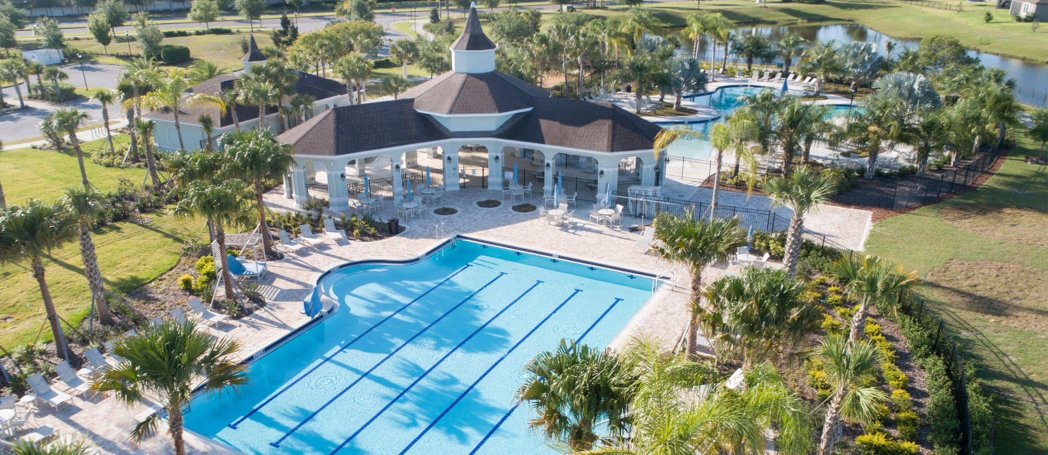 Belmont aerial view of swimming pool