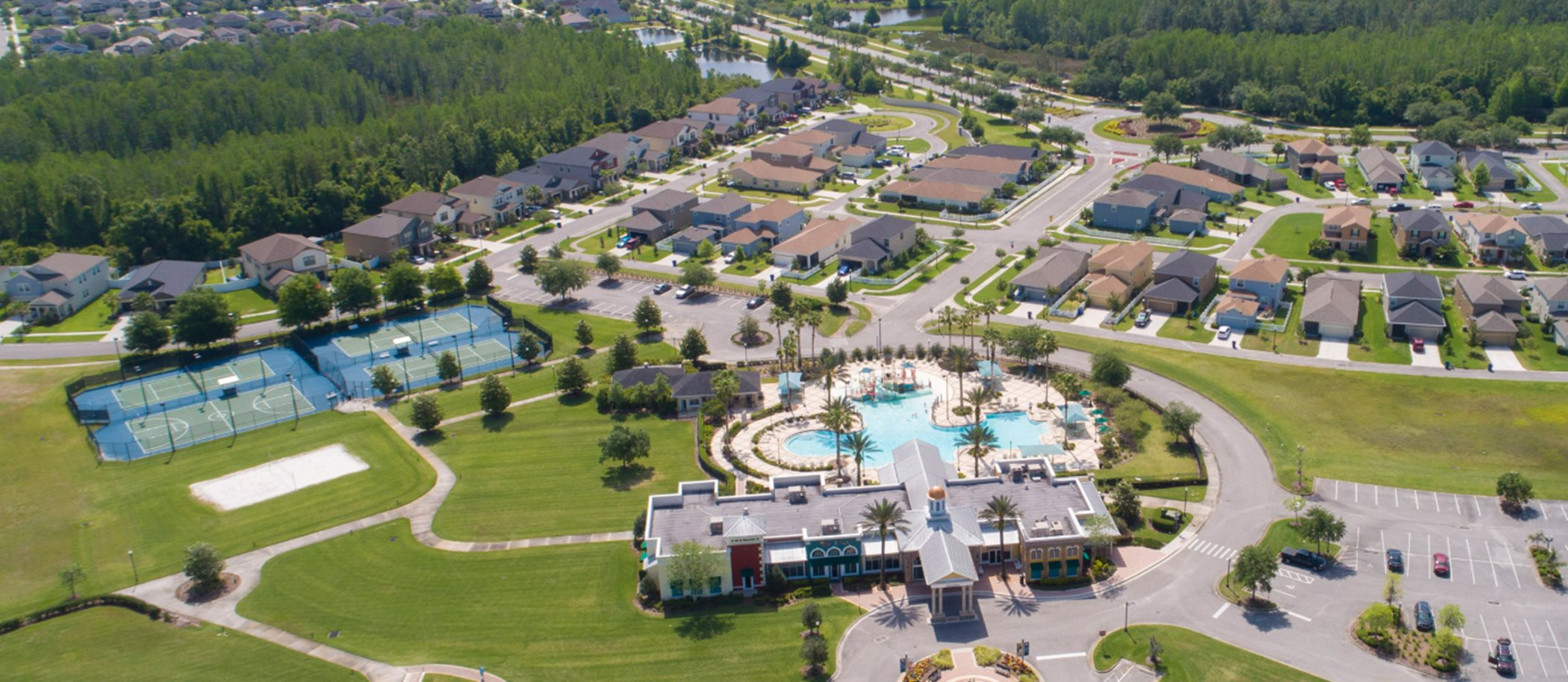 Aerial view of Connerton Clubhouse, pool and sports courts