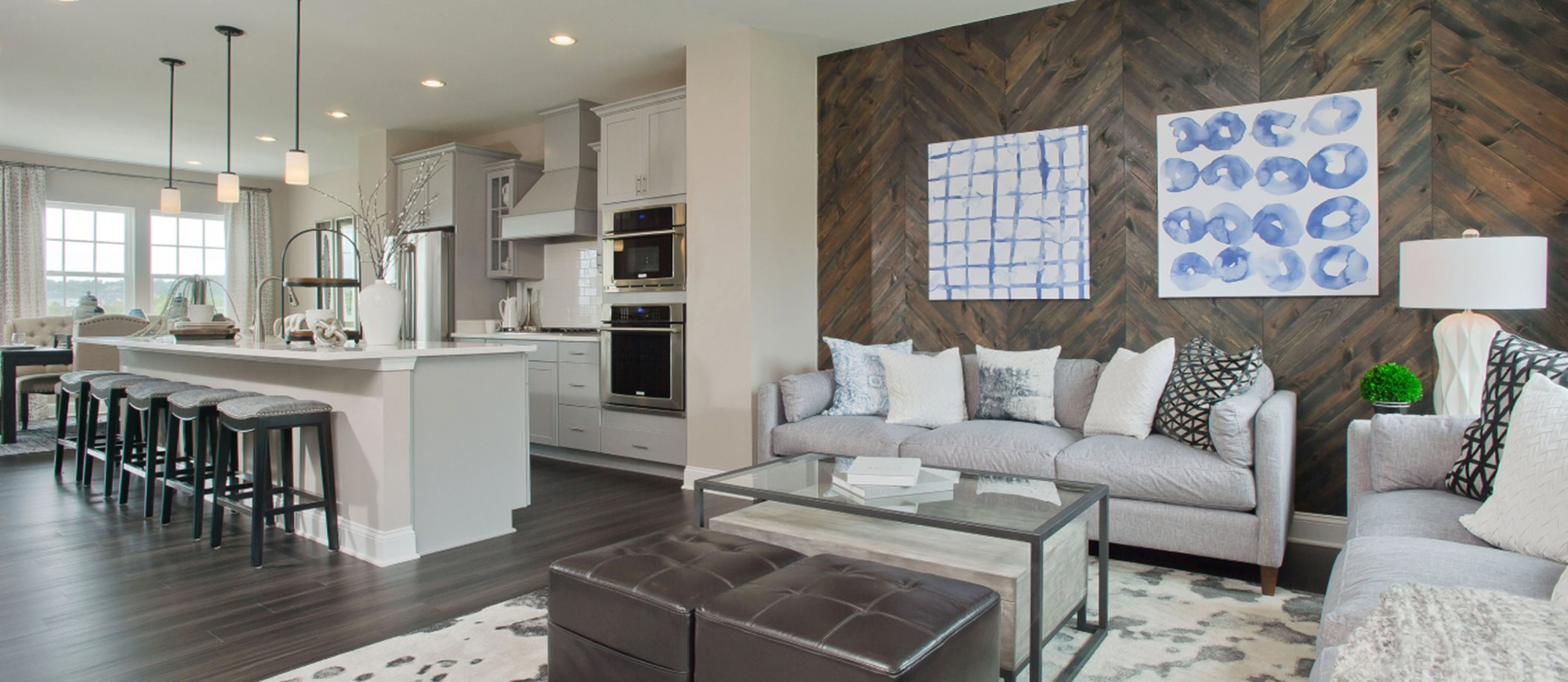 Delacour at Blue Stream Townhome Collection Arcadia Front Load Garage Living
