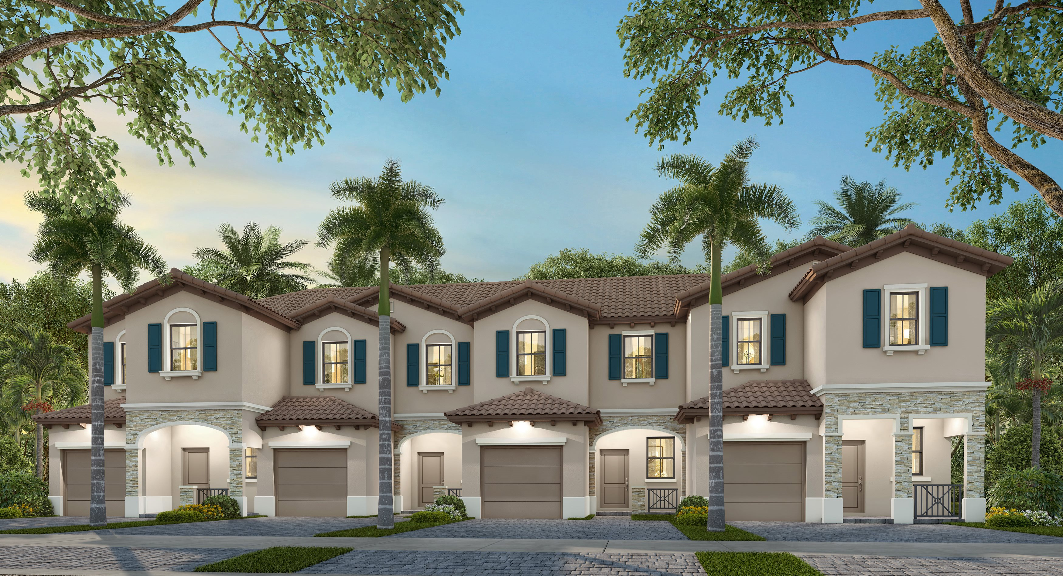 Spanish exterior rendering of townhome building