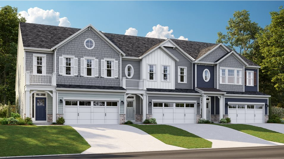 A row of townhomes in the Lafayette plan at Peninsula