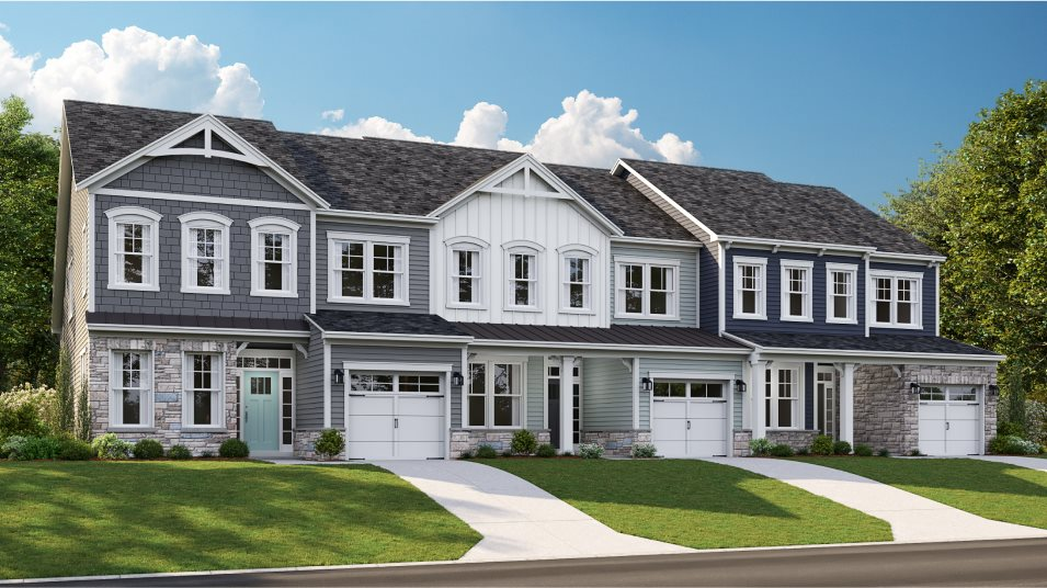 A row of townhomes in the Jefferson floorplan at Peninsula