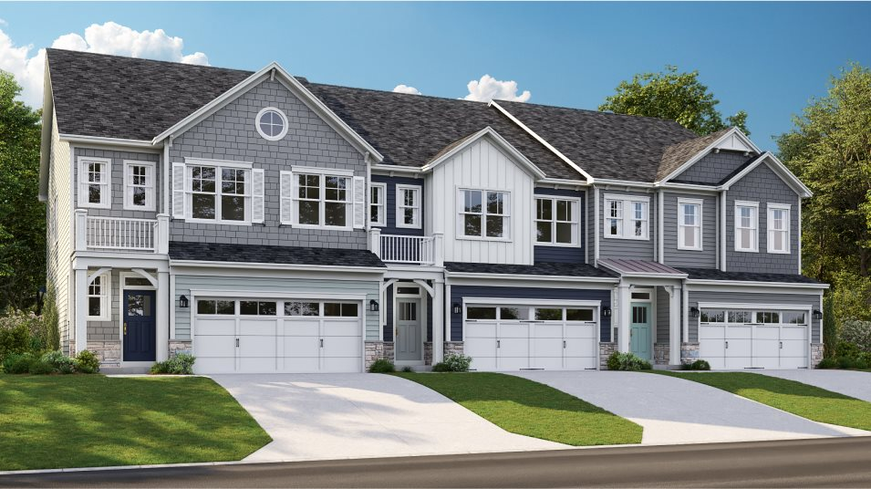 A row of townhomes in the MacArthur plan at Peninsula