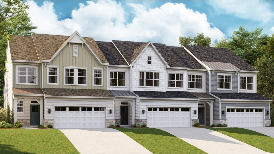 A row of townhomes in the Laguna plan at Amblebrook