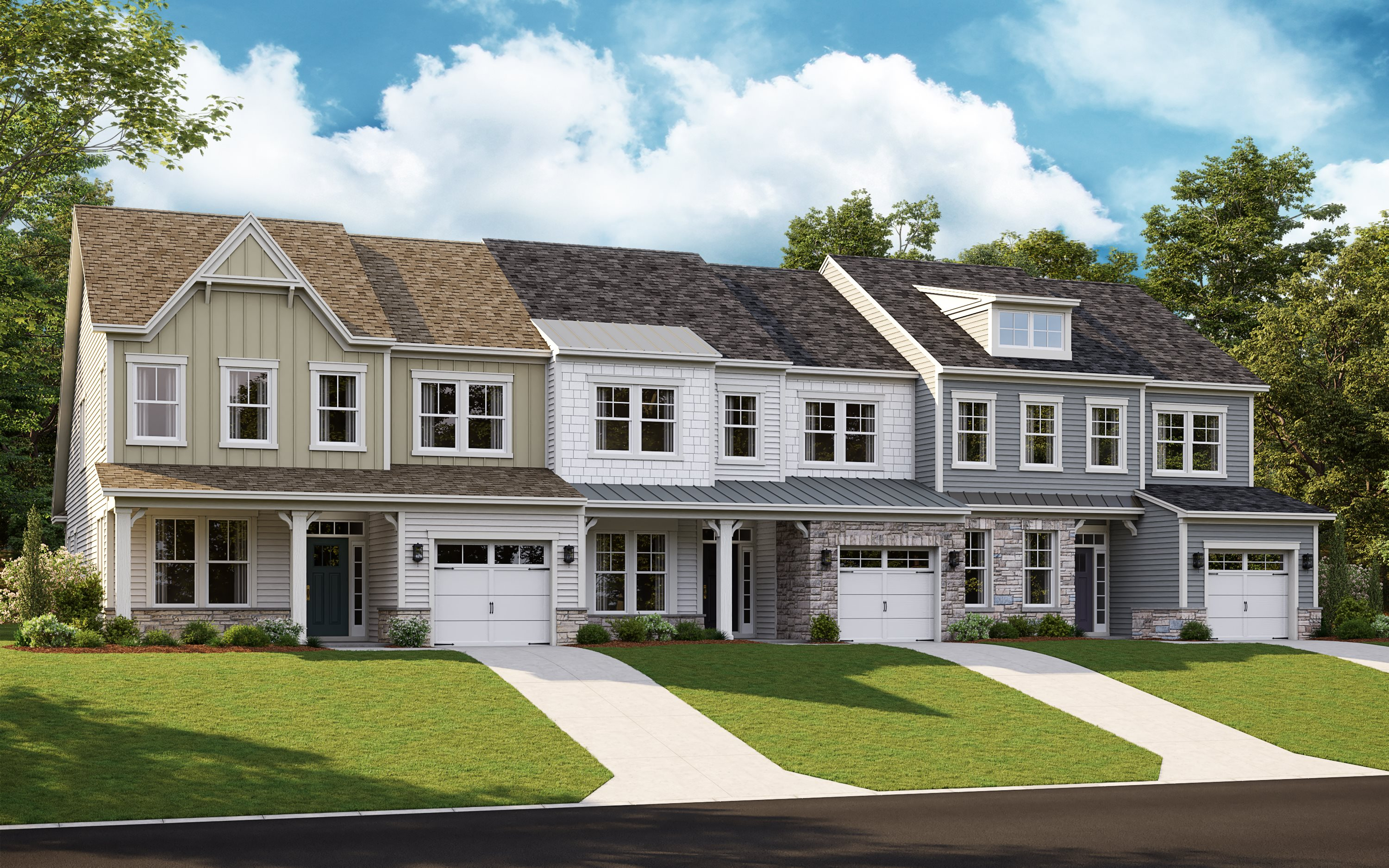Row of townhomes in the Jennings plan at Amblebrook
