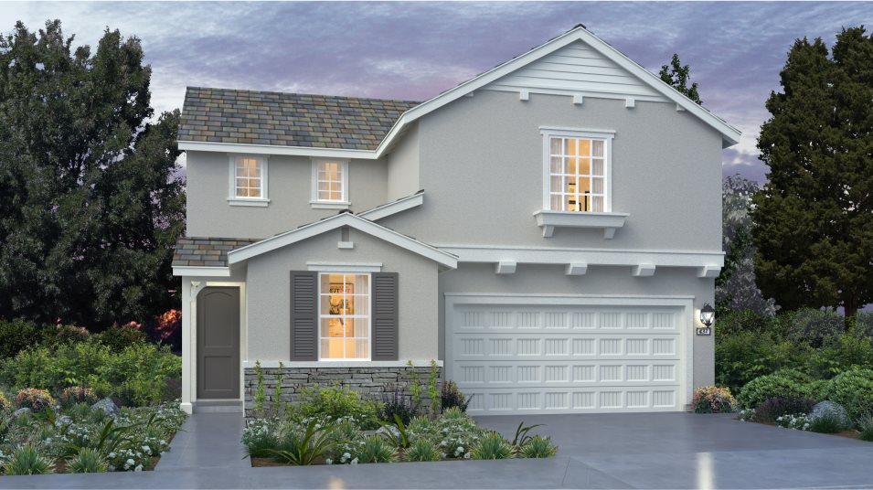 Stone accents, window shutters and a gable roof come together to provide serious curb appeal