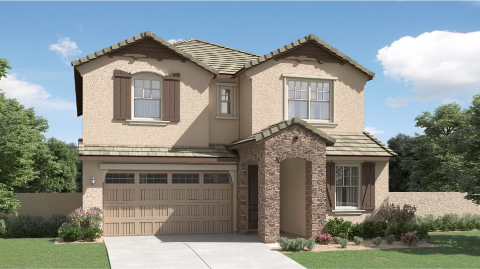 French Country Exterior at Plan 3524