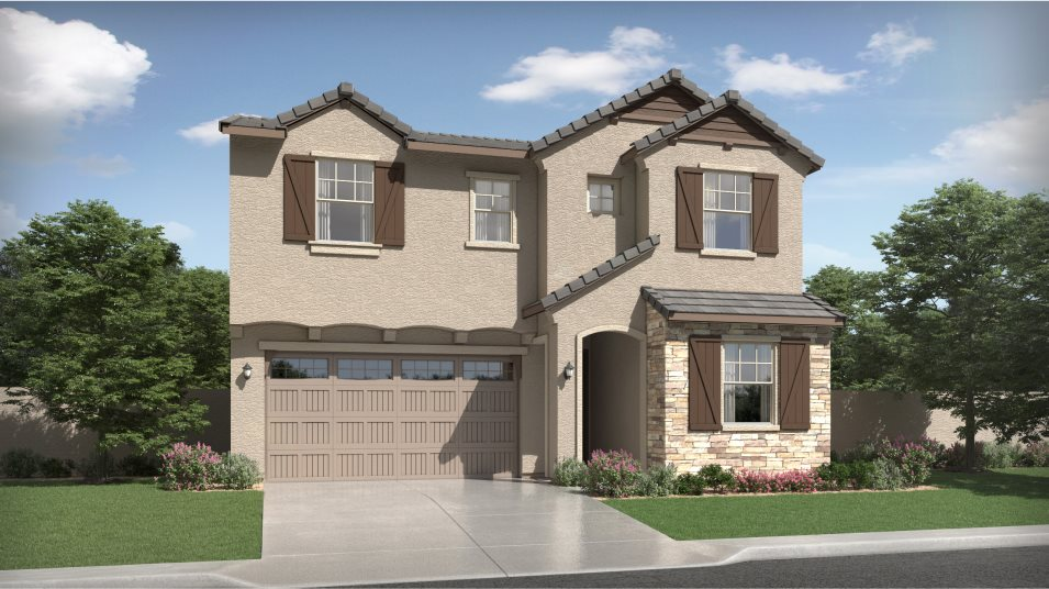 French Country Exterior at Plan 3526